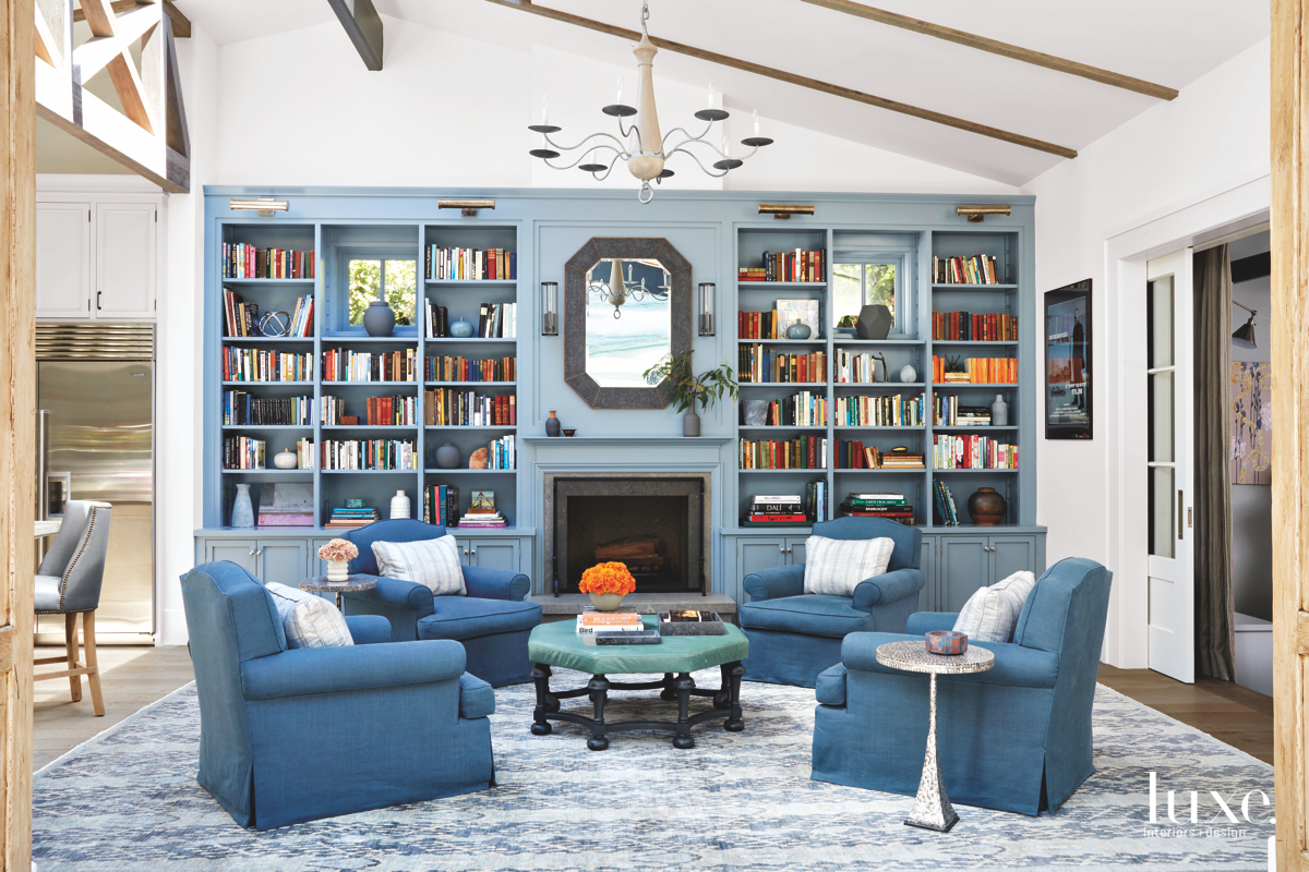contemporary blue living room bookshelves