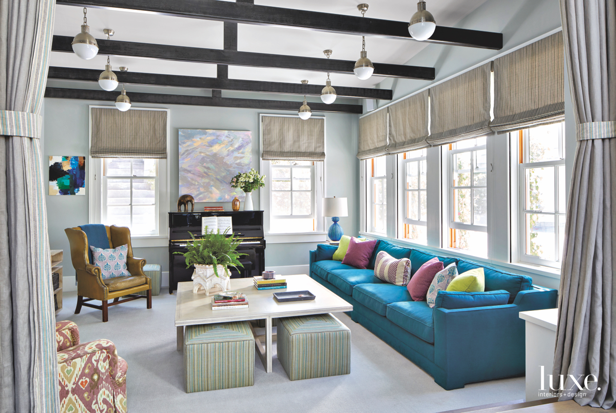 contemporary family room blue couch
