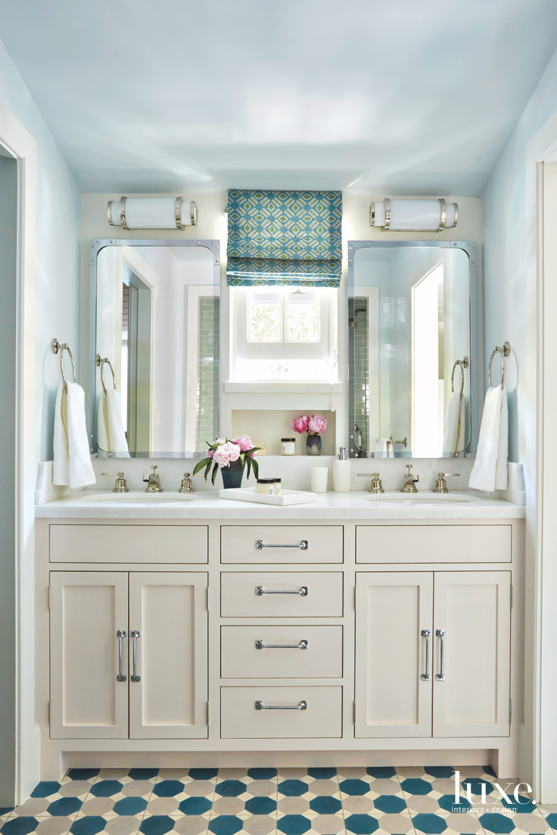 contemporary bathroom blue white