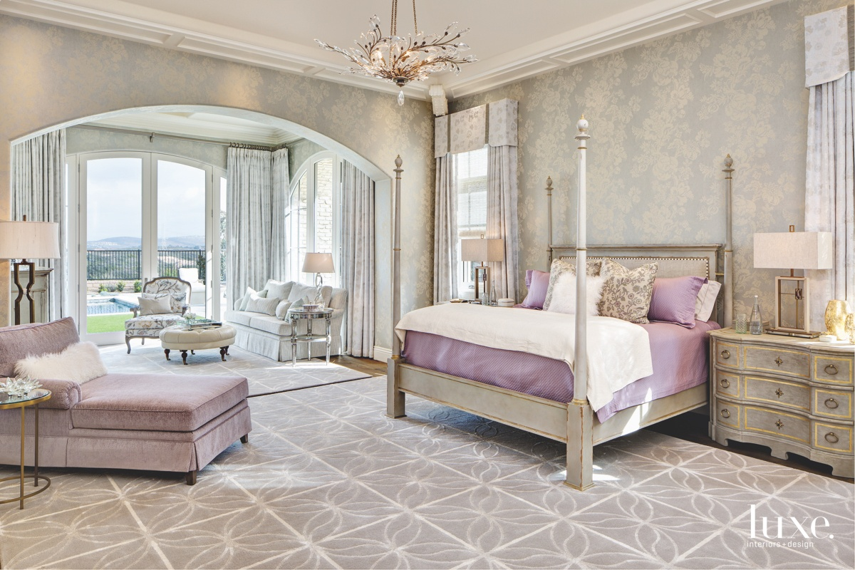 contemporary neutral bedroom purple accents