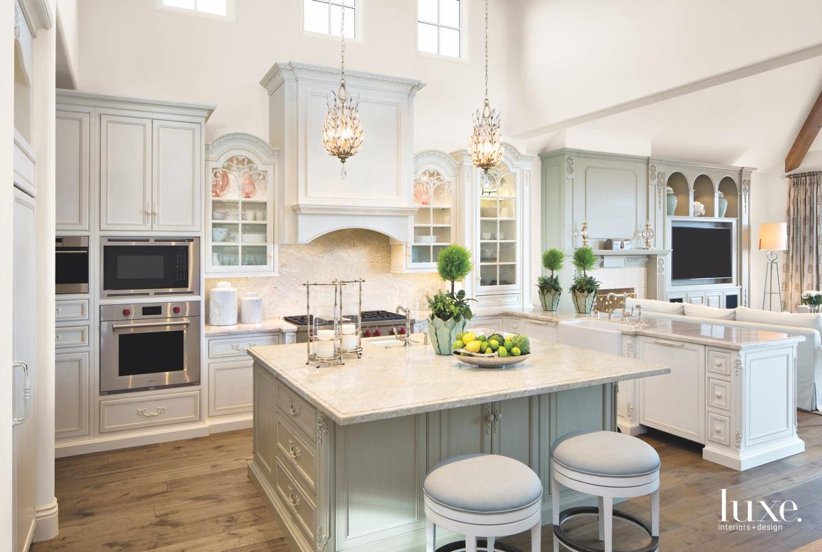 contemporary neutral kitchen stone island