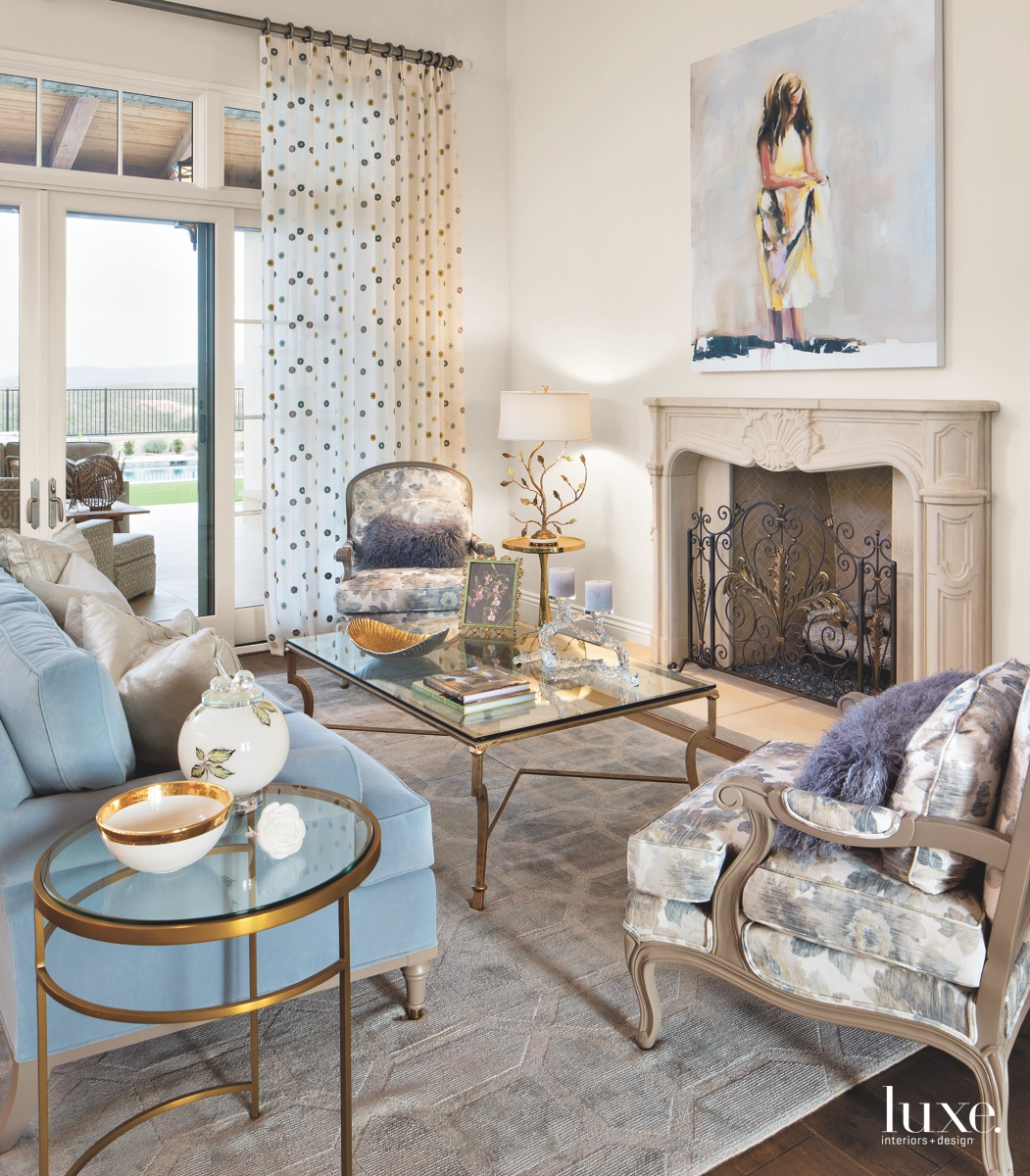 contemporary living room brass accents