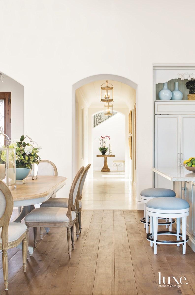 contemporary neutral white hall kitchen