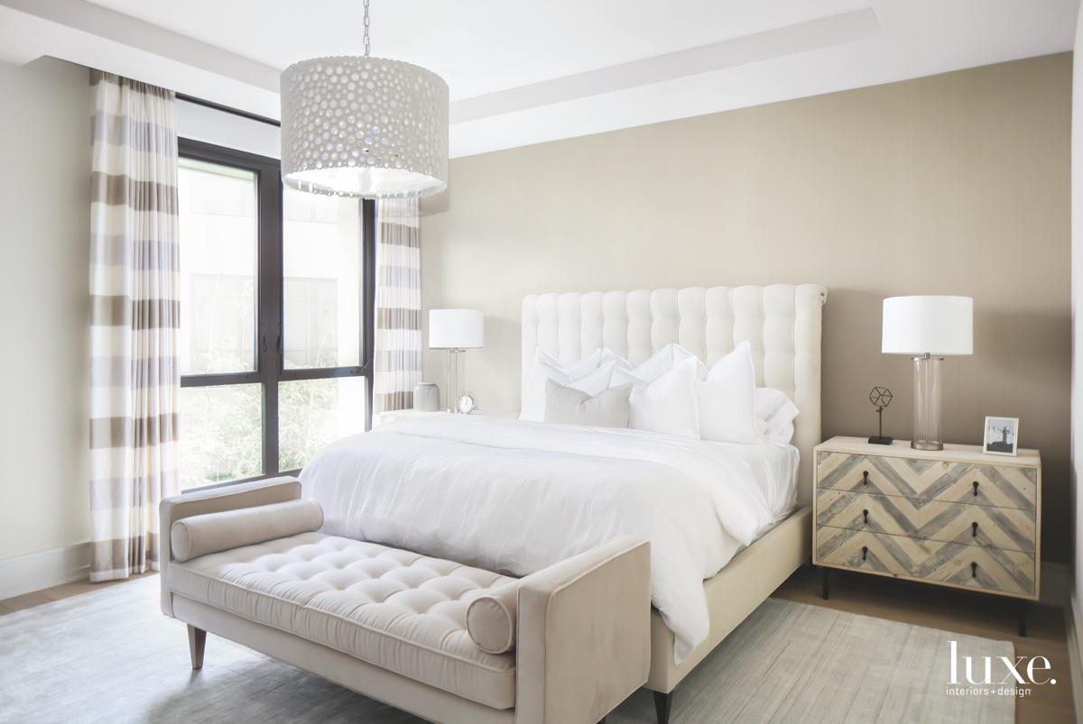 contemporary white neutral bedroom chevron...
