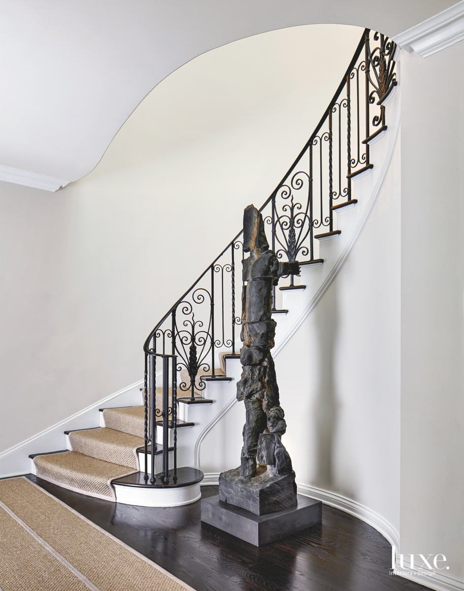 modern stairwell brown sculpture