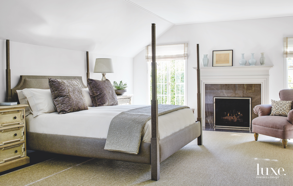 modern white neutral bedroom fireplace