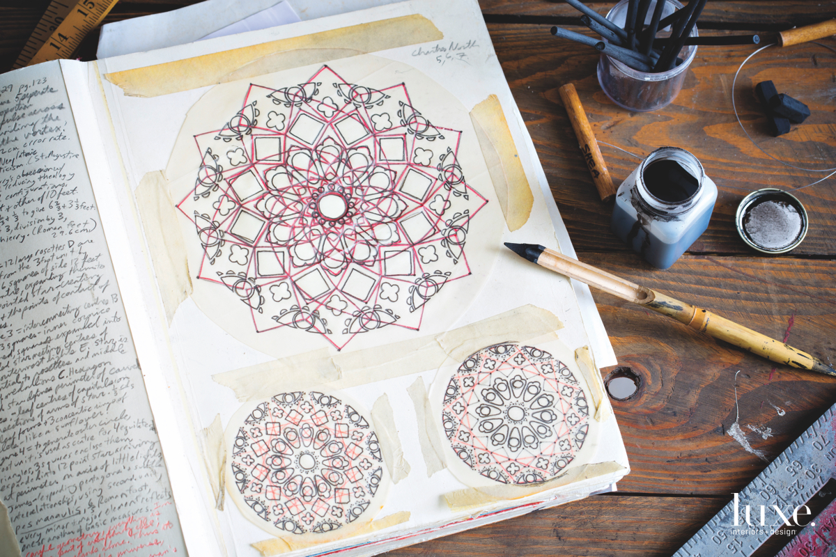 Apodaca's sketchbook is filled with drawings of rose windows.