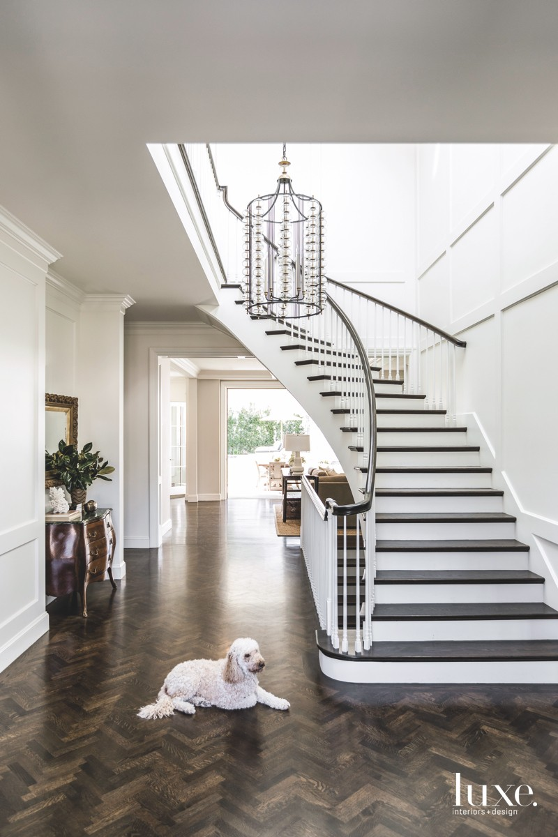 contemporary foyer staircase oak flooring