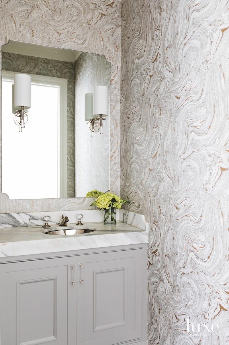 contemporary bathroom neutral marble Harlequin...