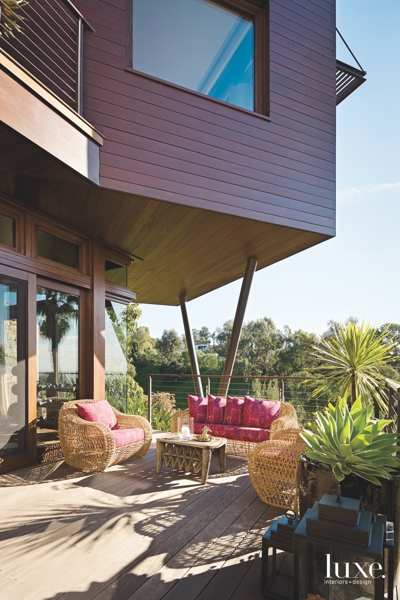 contemporary exterior pink sitting area...