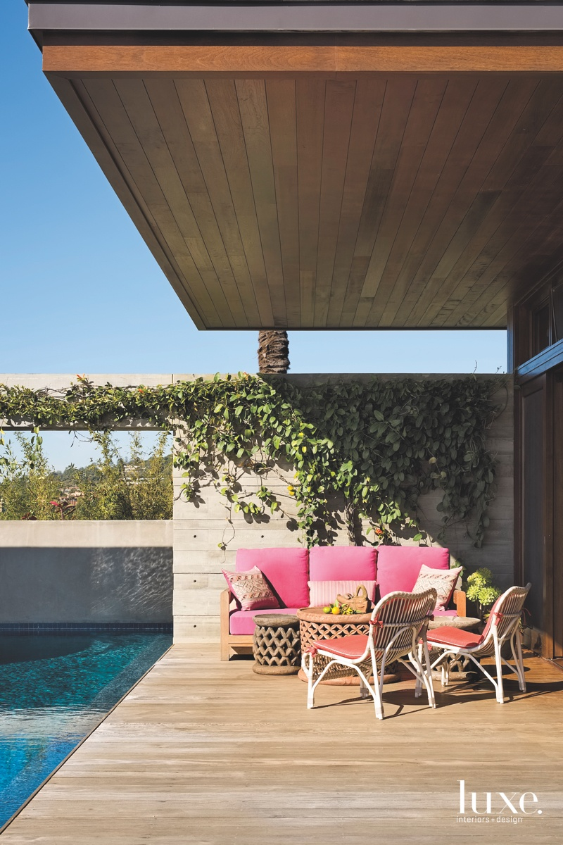 contemporary outdoor sitting area pink...