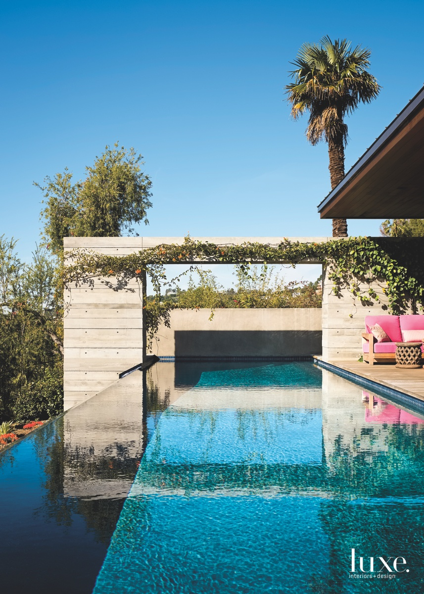 contemporary pool deck pink couch
