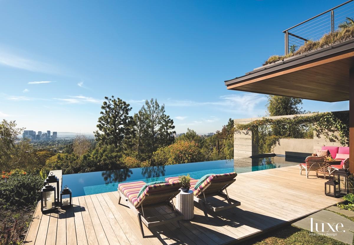 contemporary exterior patio pool sitting...