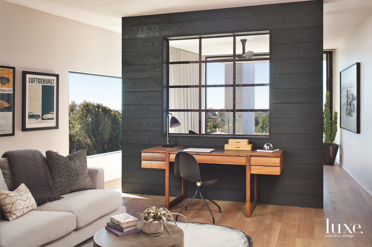 modern bedroom gray sitting area...
