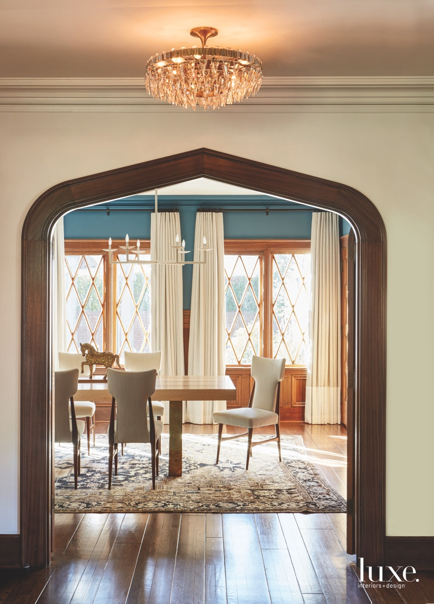 midcentury modern archway dining room...