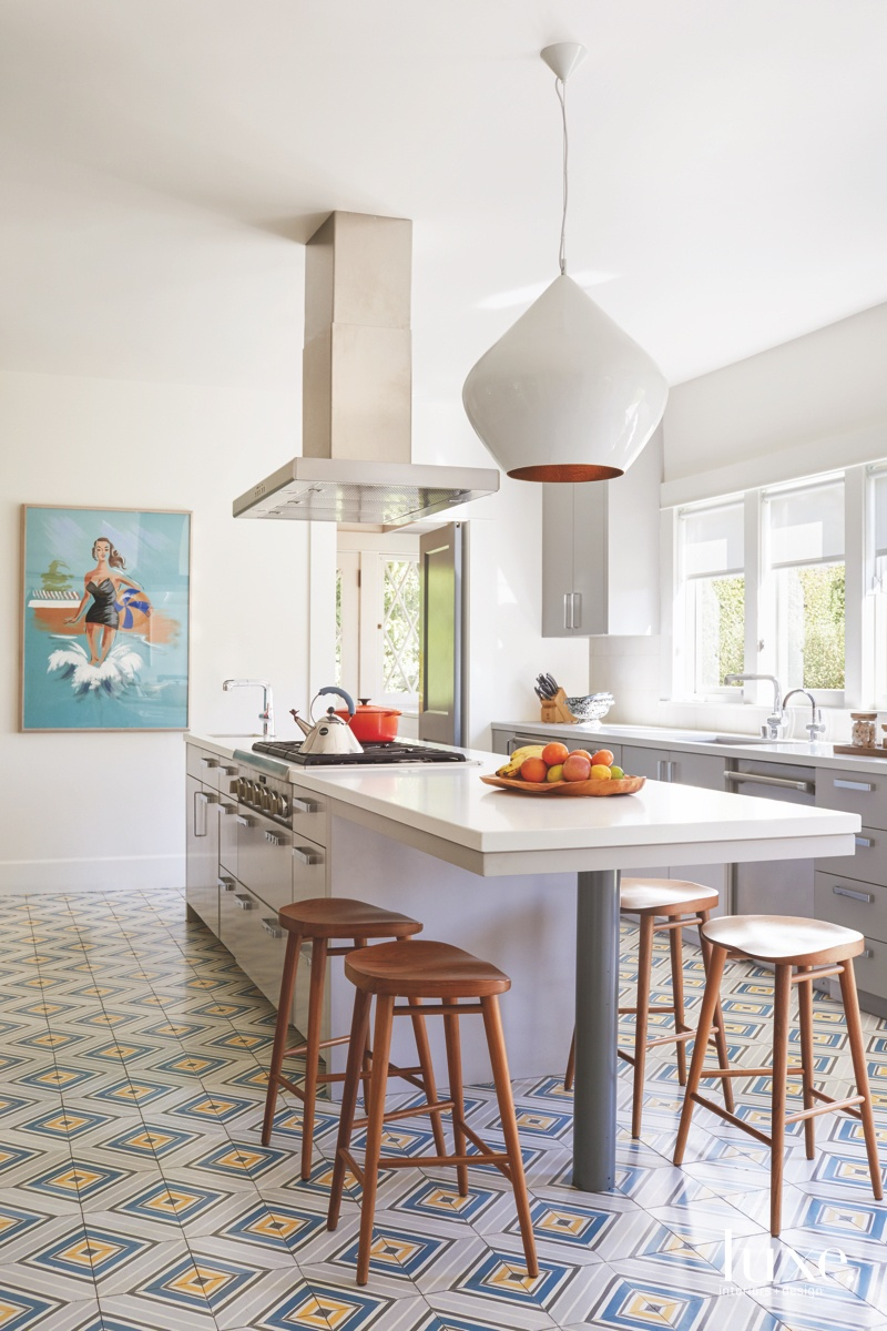 midcentury modern kitchen patterned flooring