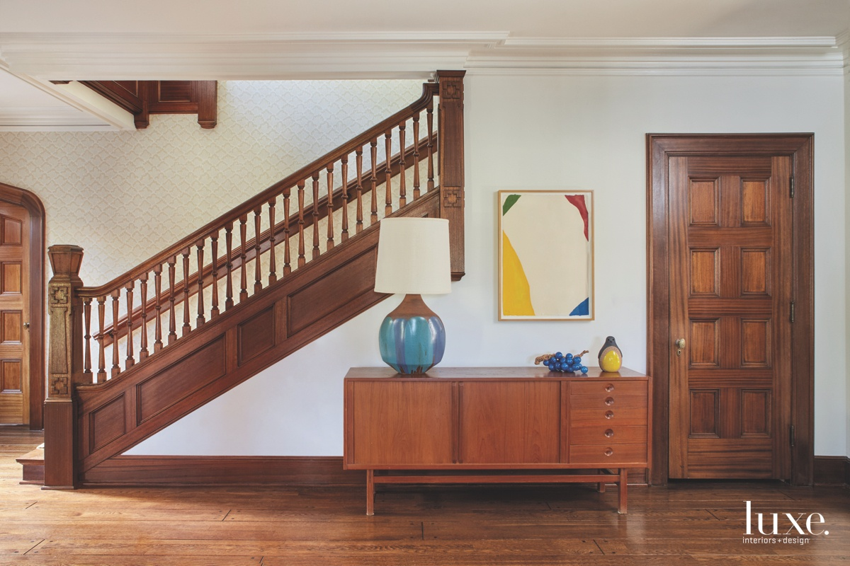 midcentury modern foyer entry staircase...
