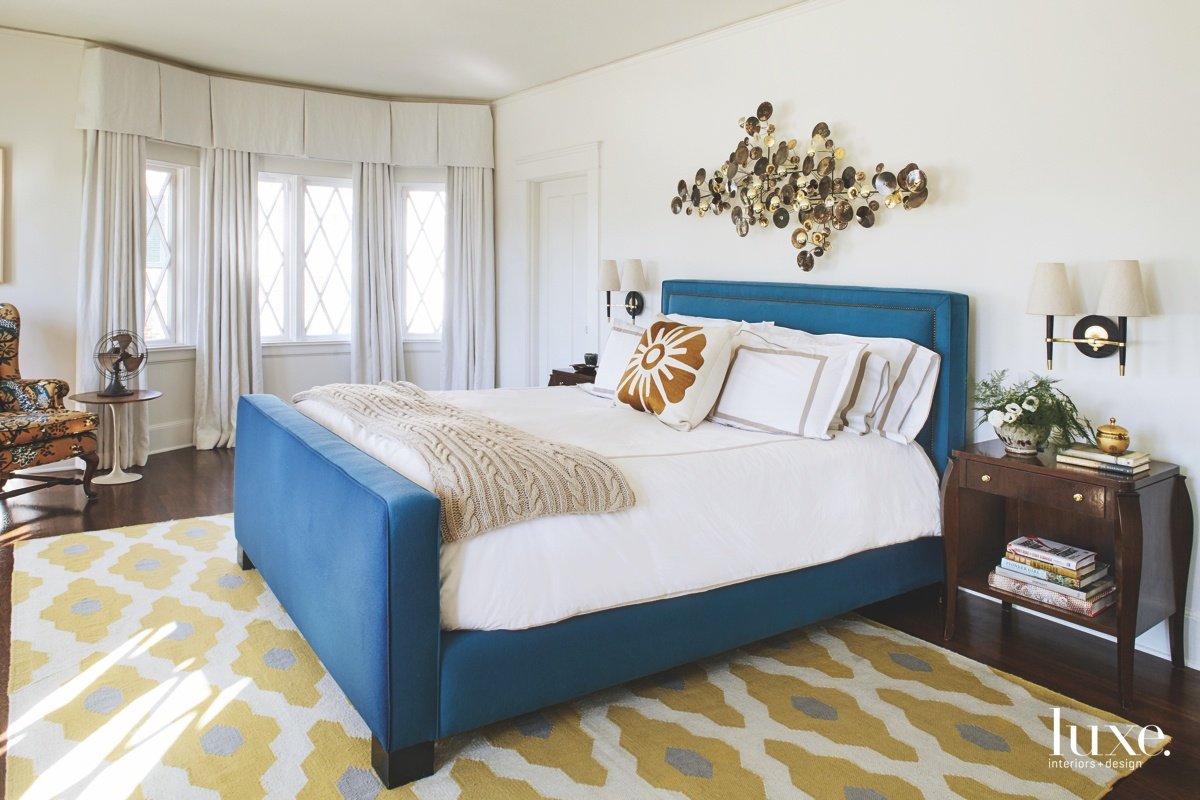 midcentury modern bedroom blue upholstered...