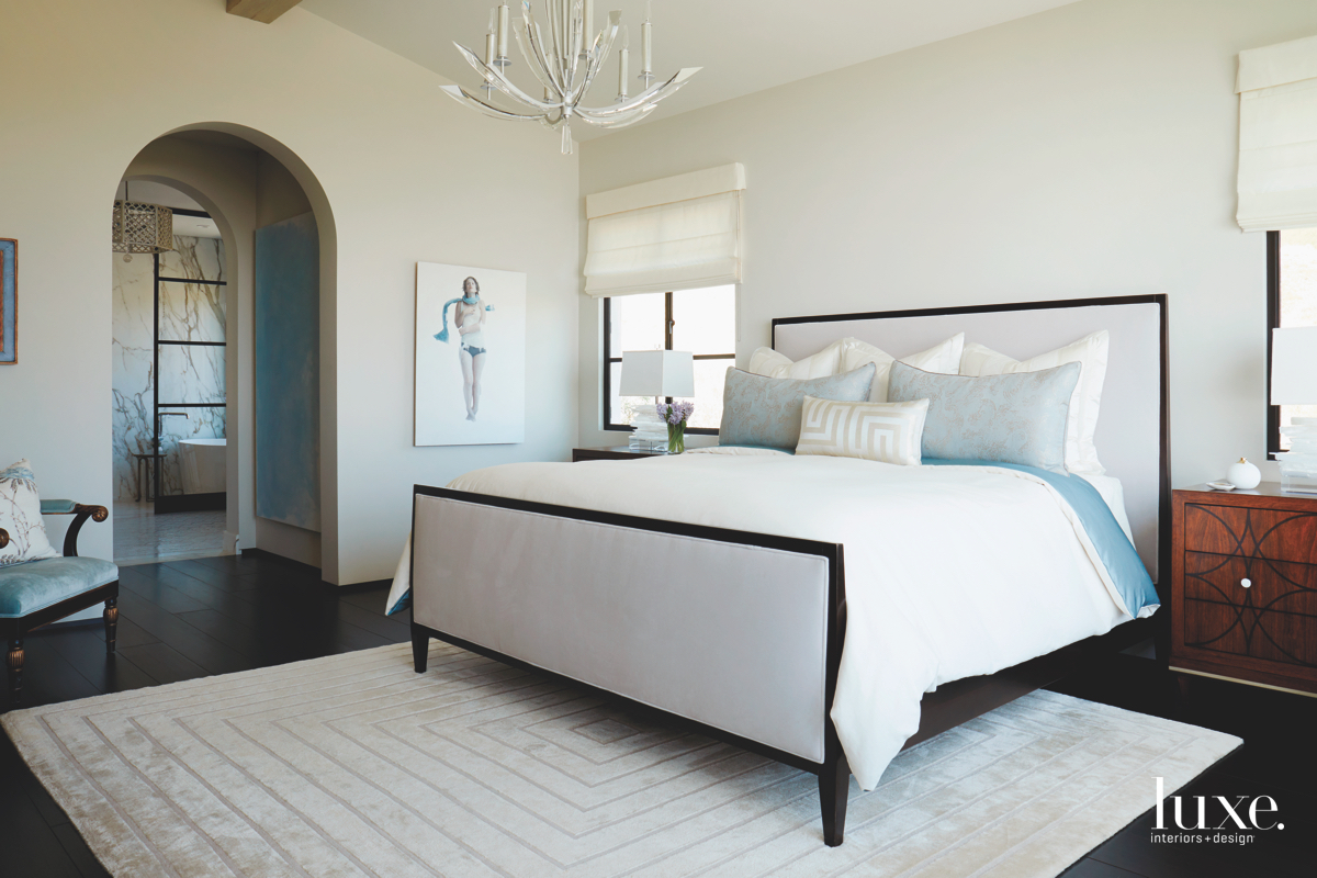 contemporary white bedroom blue accents
