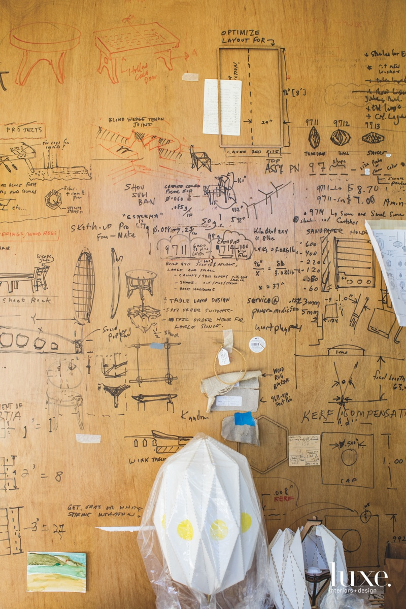 A wall in Towey's studio provides insight into his creative process.