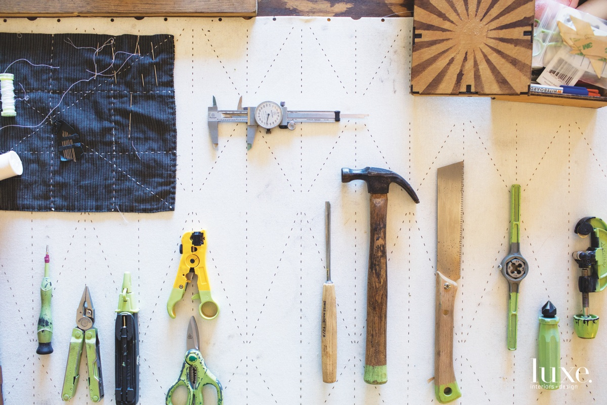 Shown here are some of the tools he uses to make his products.