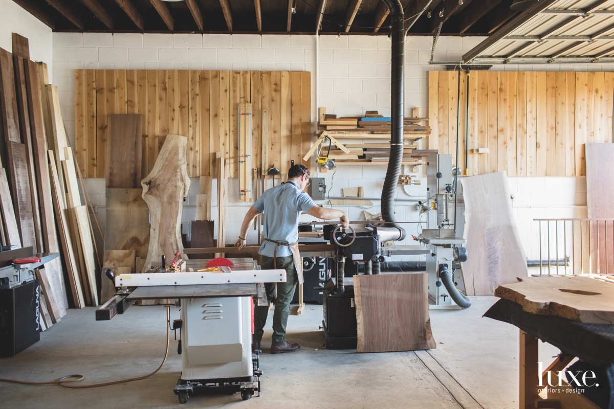 In addition to his nine-piece furniture collection, Sebree, shown working in his studio also has a large custom practice.
