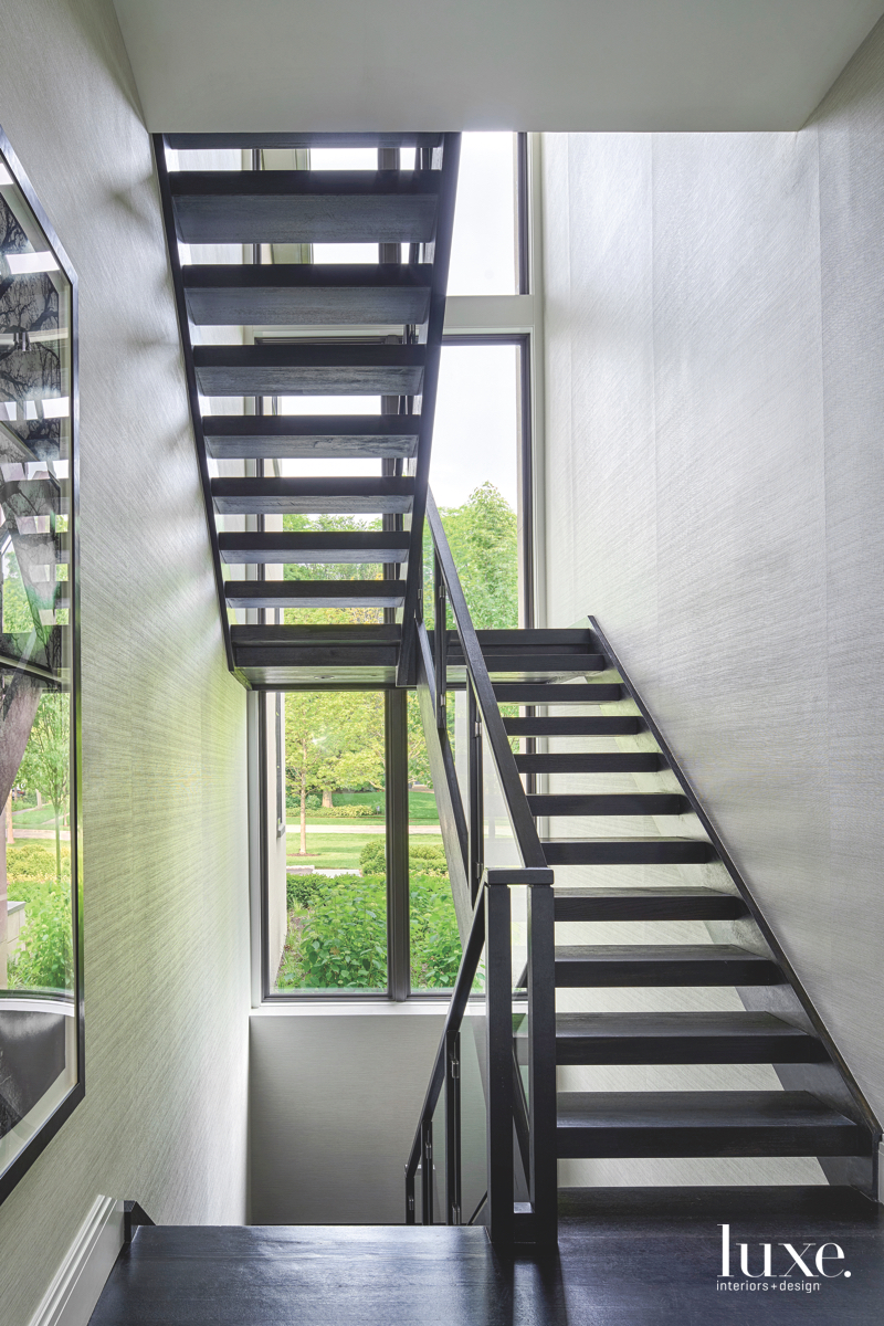 modern black stairs glass window