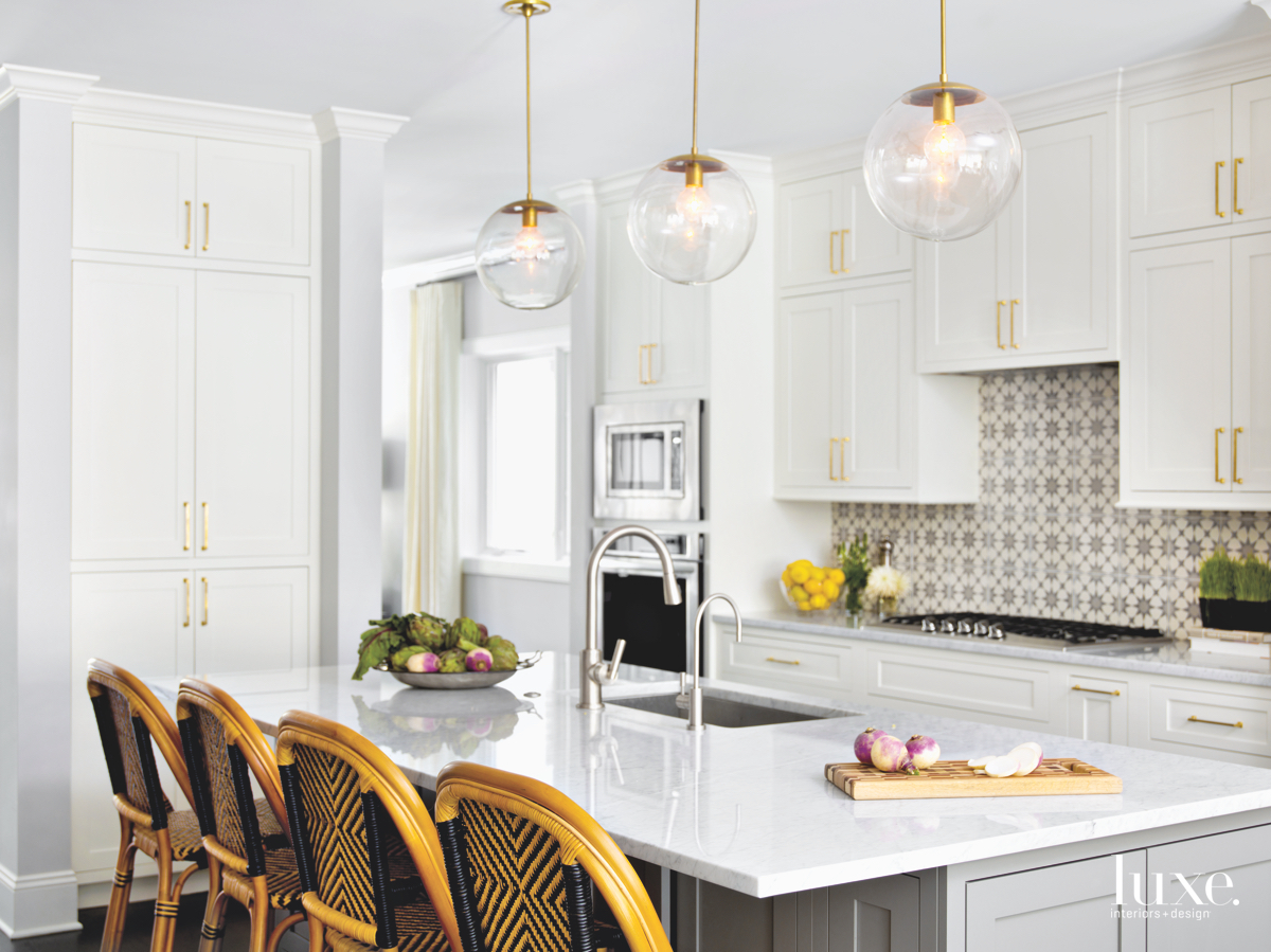 modern kitchen gold accents
