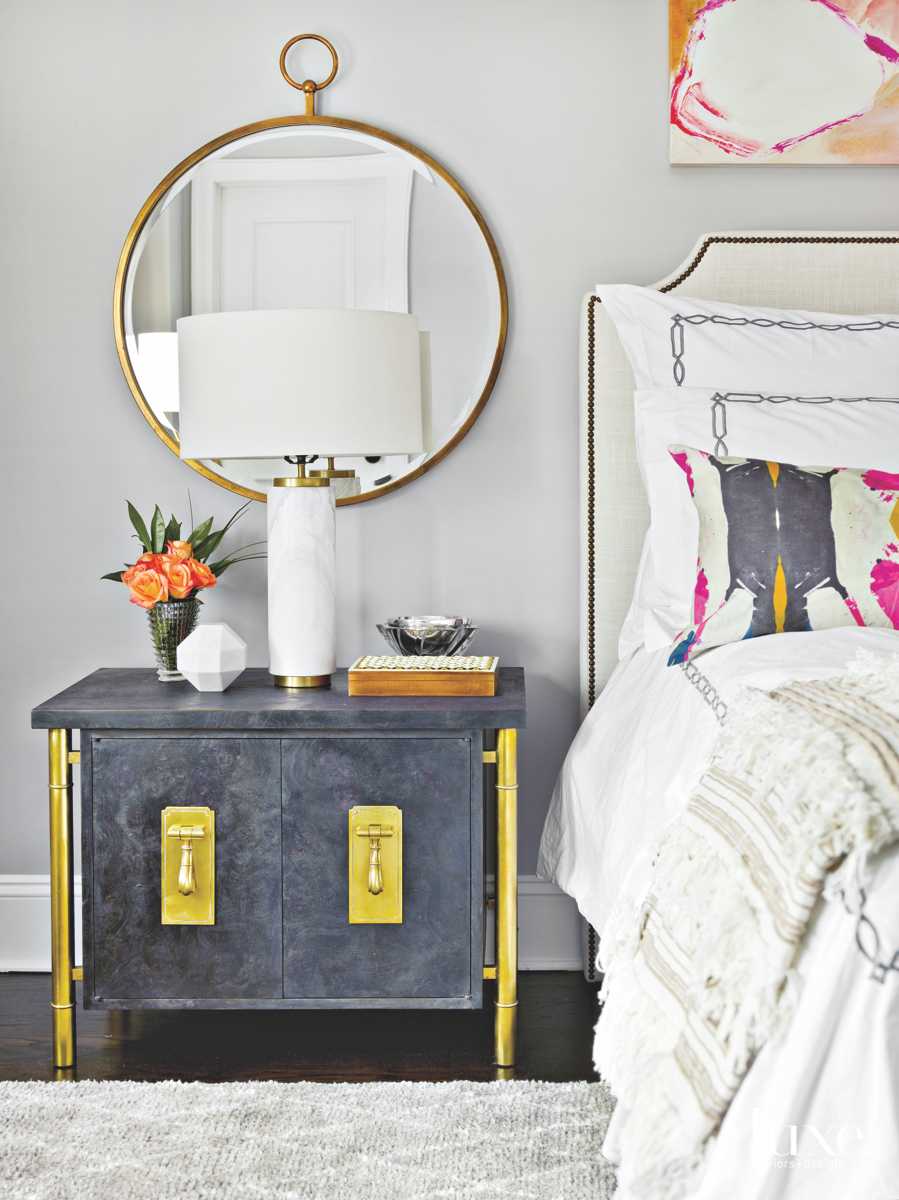 modern white bedroom gold pink...