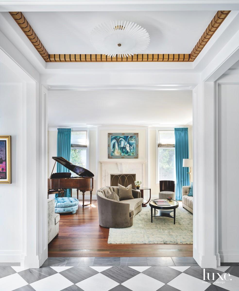 contemporary living room piano neutral...