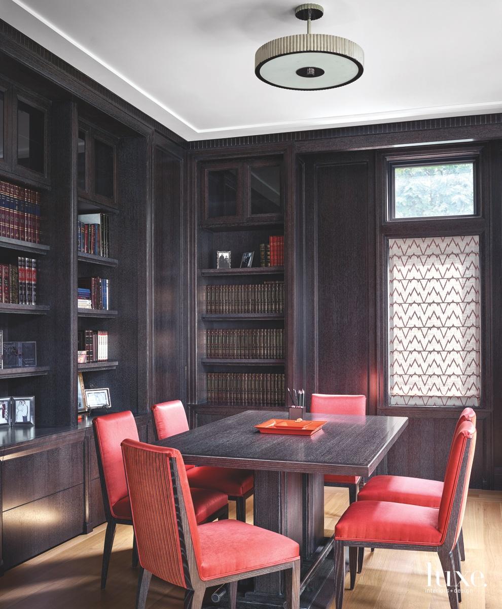 contemporary den/study dark brown wood...