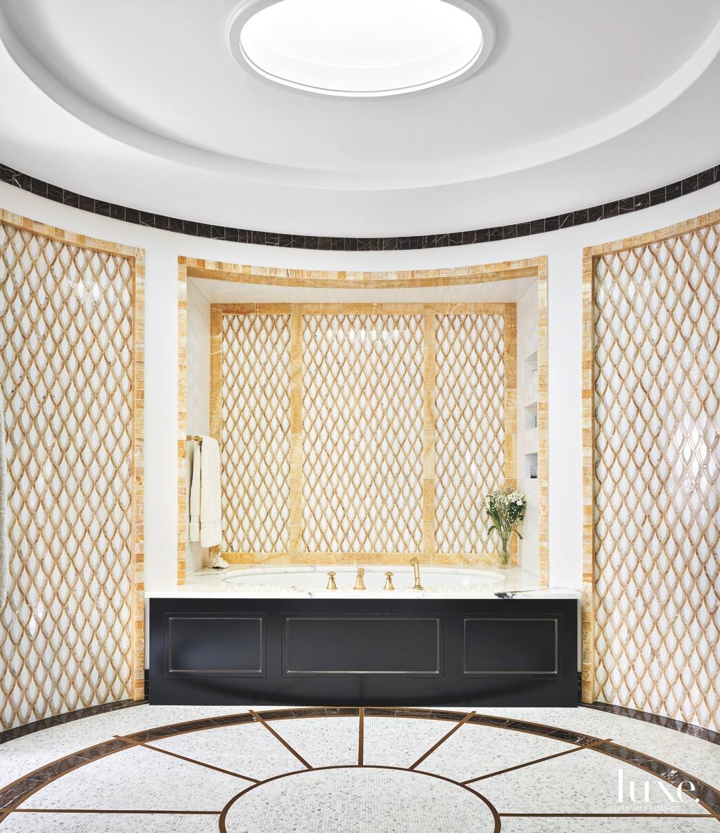 contemporary master bathroom stones mosaic...