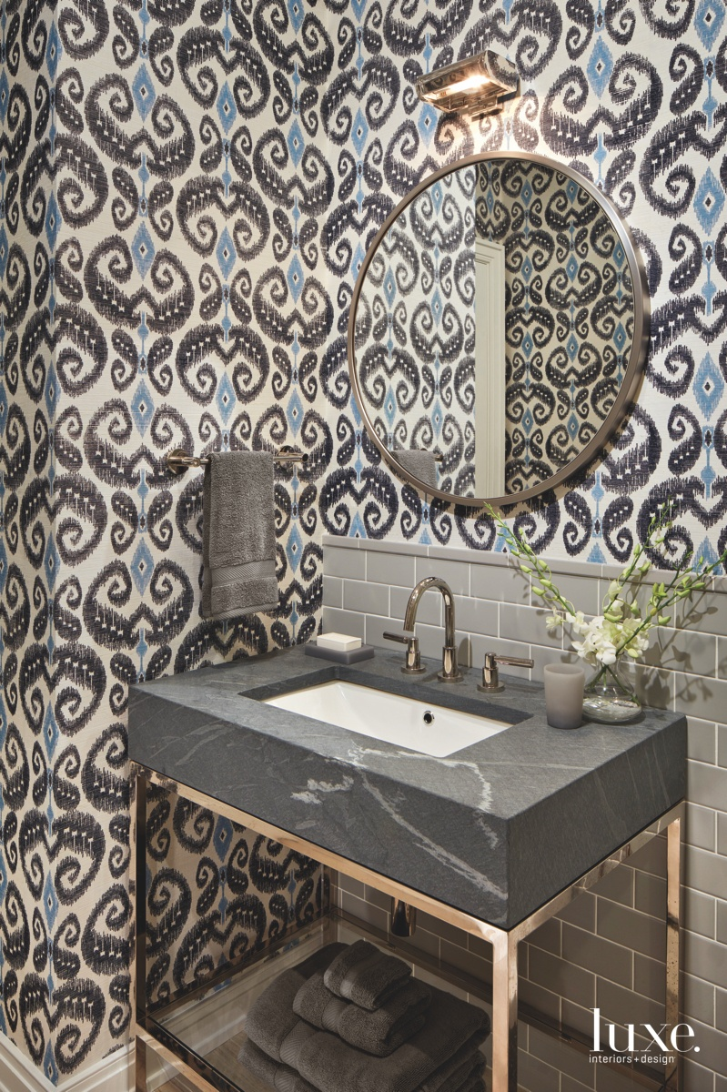 contemporary bathroom bold pattern gray