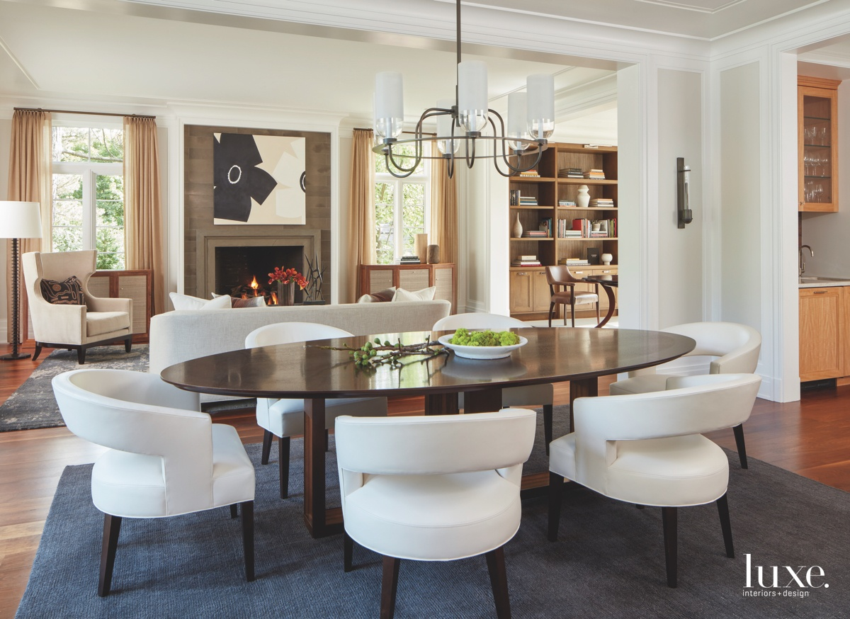contemporary dining room neutral white...