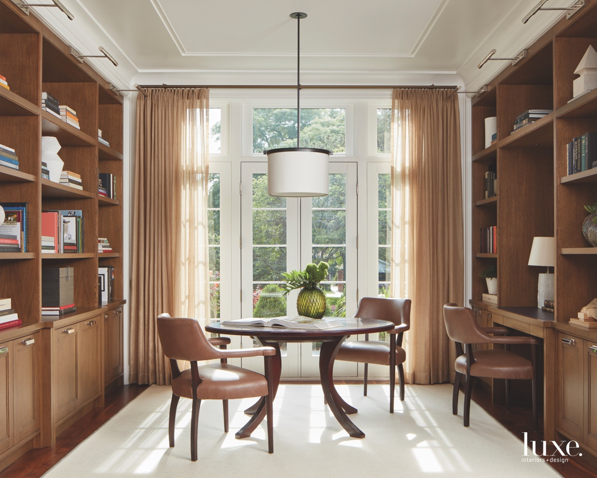 contemporary study library brown hanging...