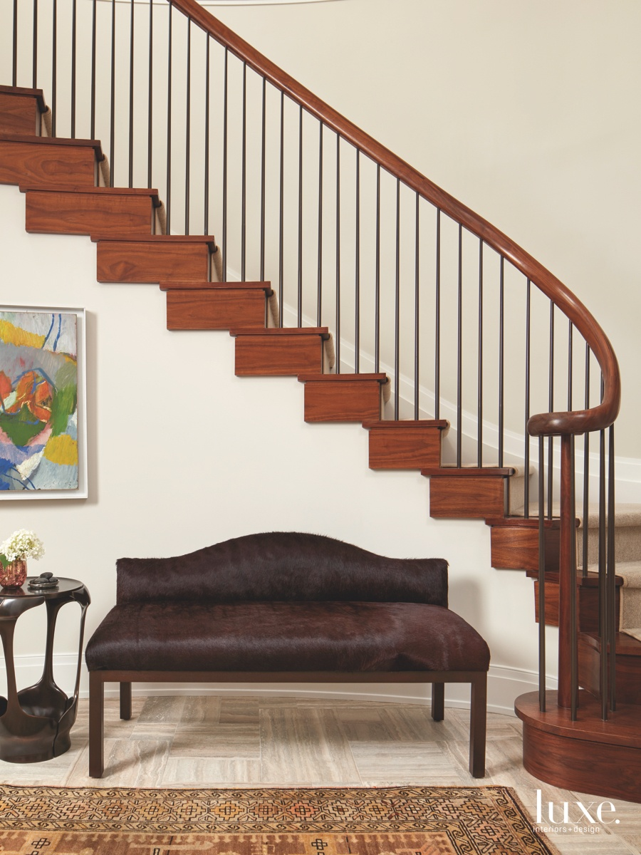 contemporary staircase leather couch walnut...