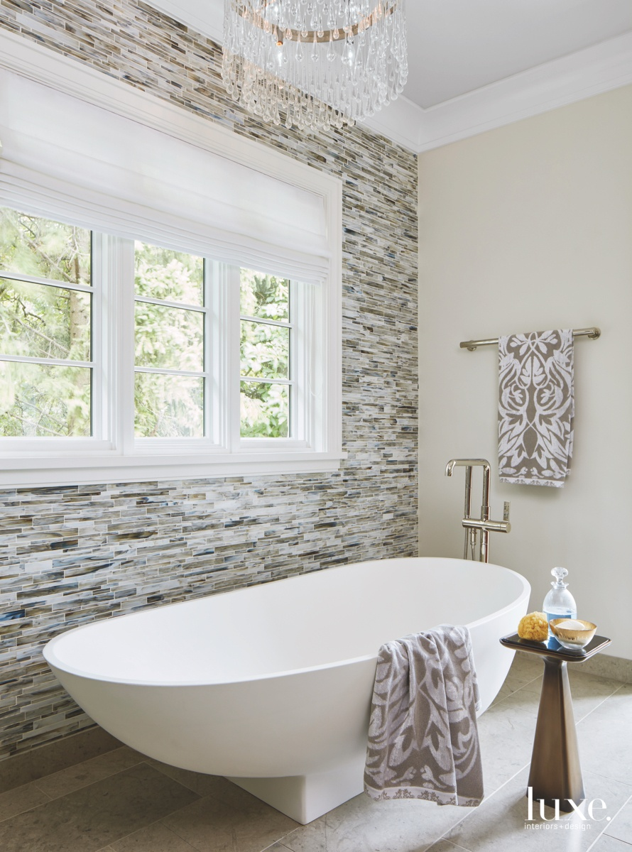contemporary bathroom glass mosaic tile...