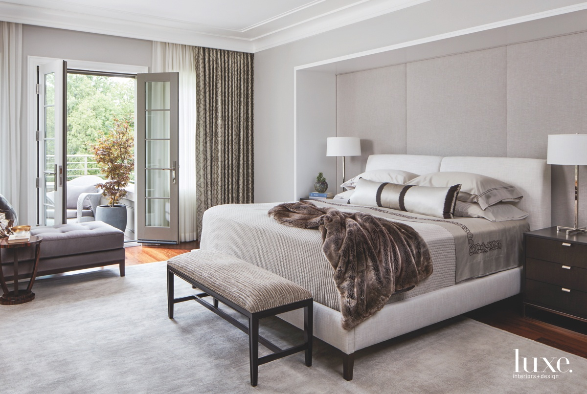contemporary master bedroom neutral gray...
