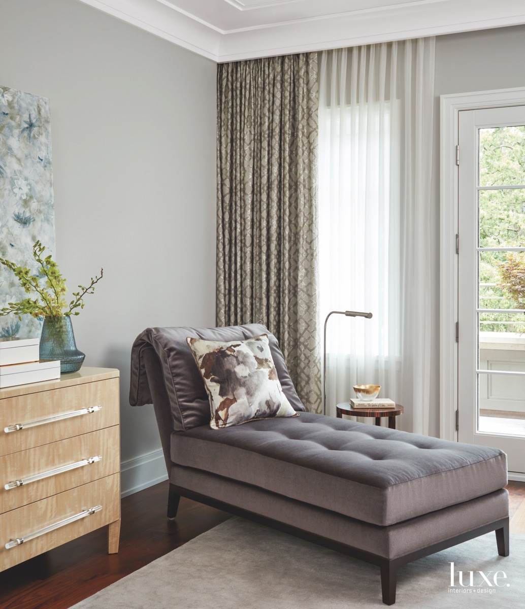 contemporary master bedroom draperies gray...