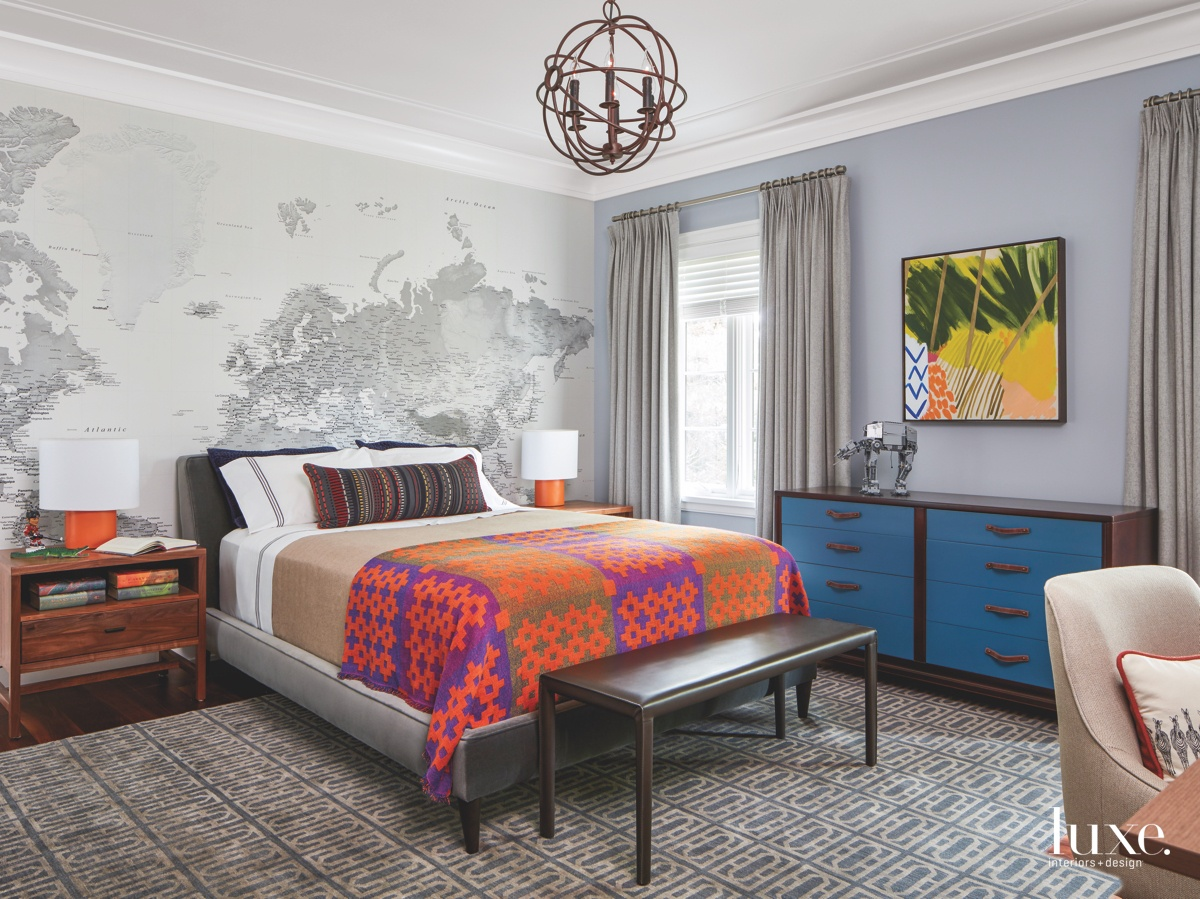 contemporary bedroom blue dresser iron...