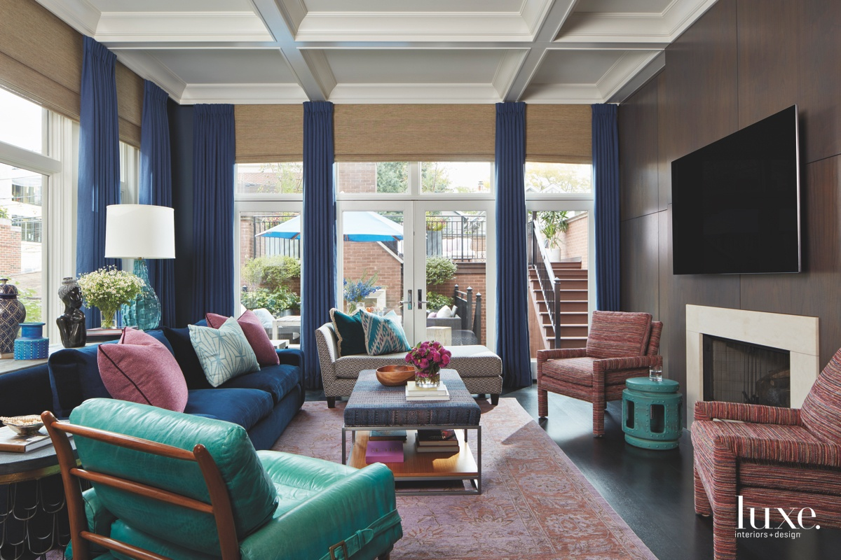 contemporary living room berry blue...
