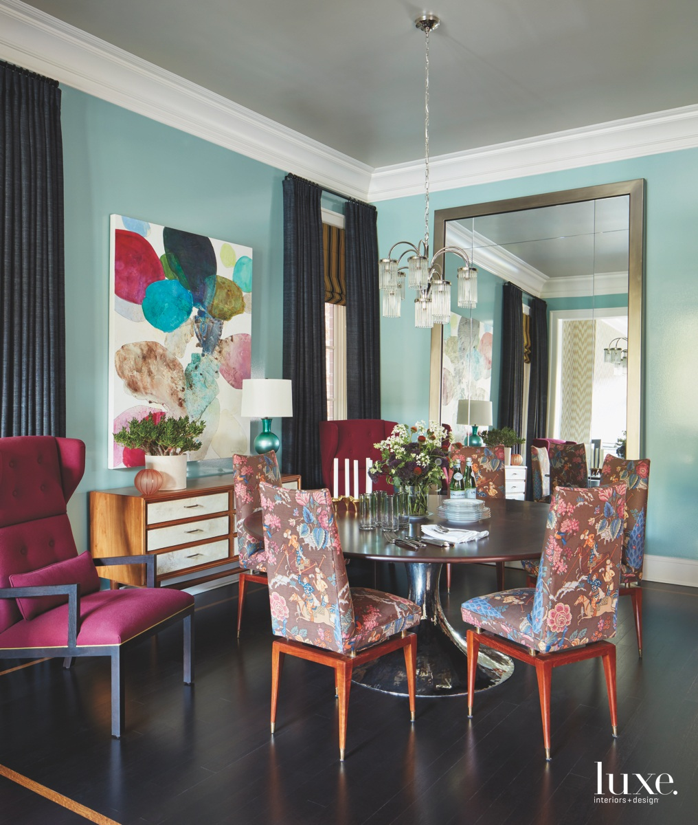 contemporary multi-colored dining room vintage...