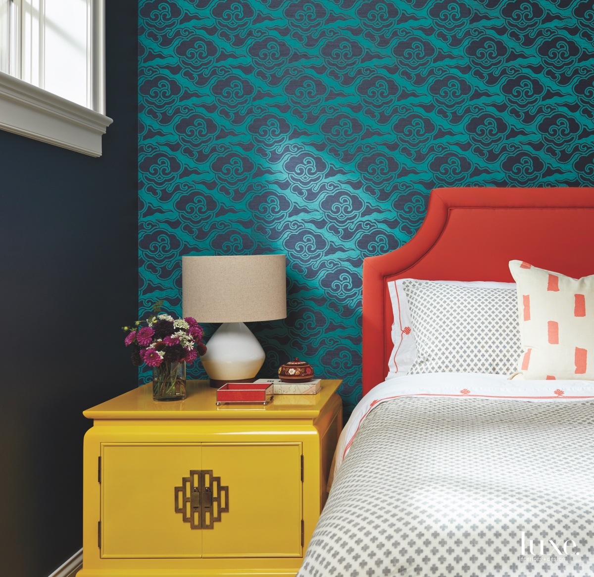 contemporary bedroom yellow cabinet blue...
