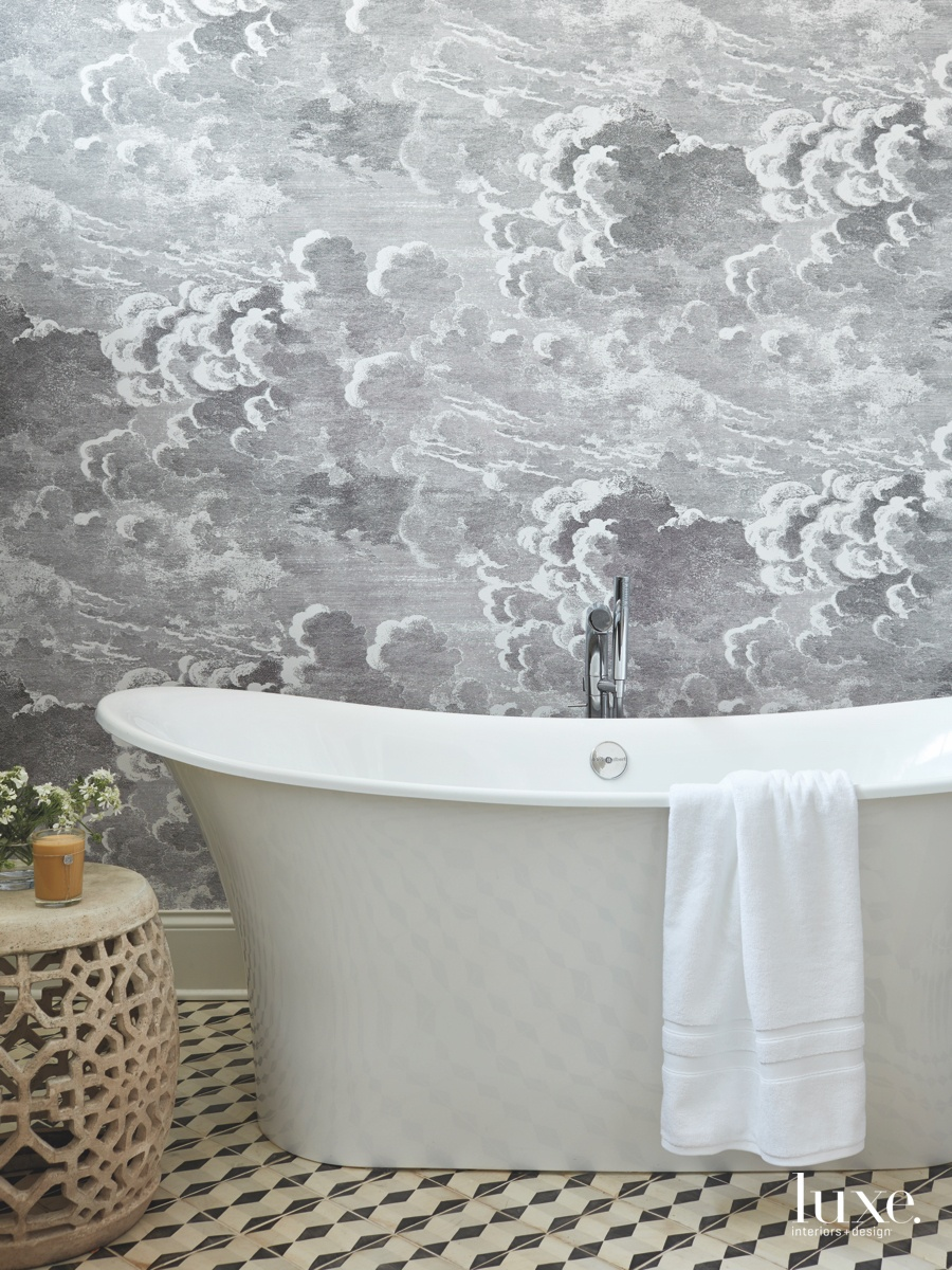 contemporary bathroom gray wallpaper white...