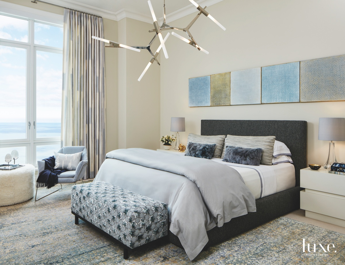 transitional bedroom gray with blue...