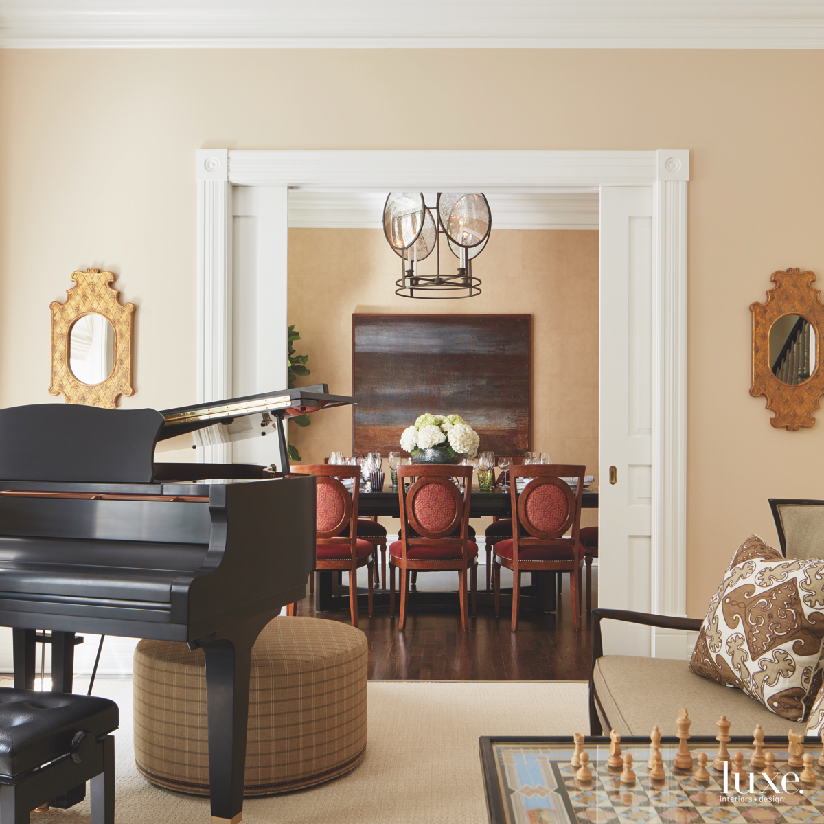 contemporary neutral music room living...