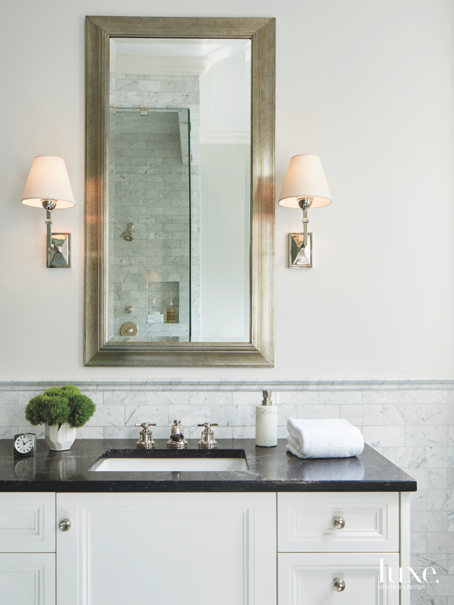 contemporary bathroom white cabinetry
