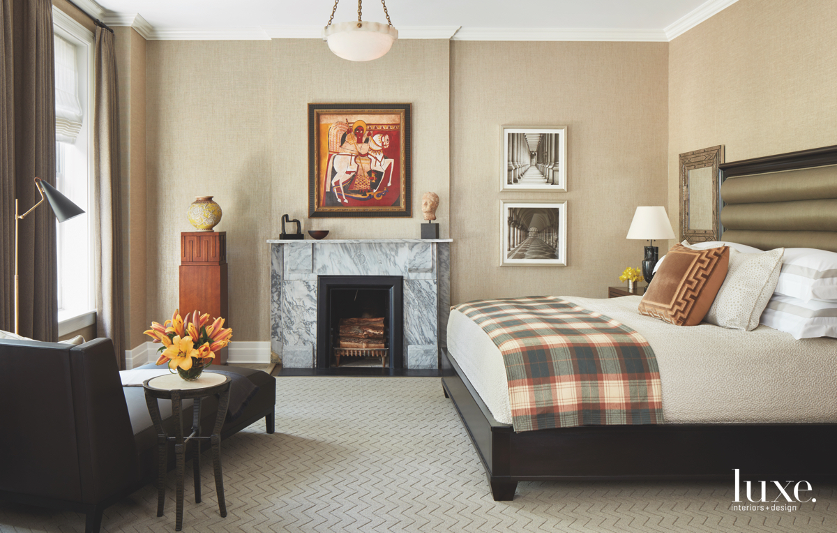 contemporary bedroom fireplace neutral plaid...