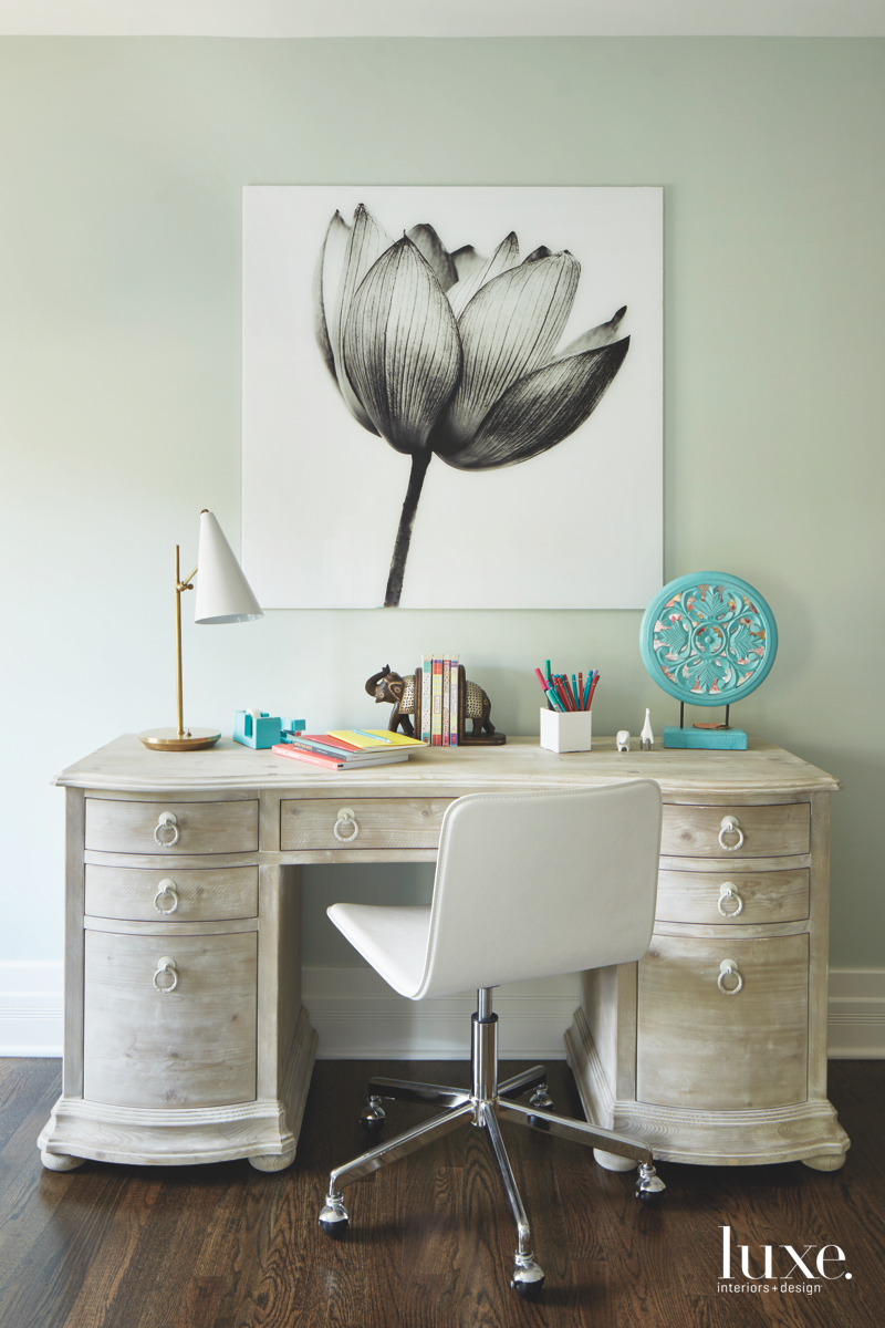 contemporary bedroom desk flower painting