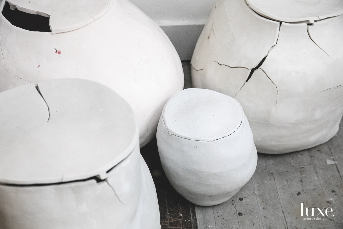 Her urn series was part of a 2015 group exhibition at Heaven Gallery.